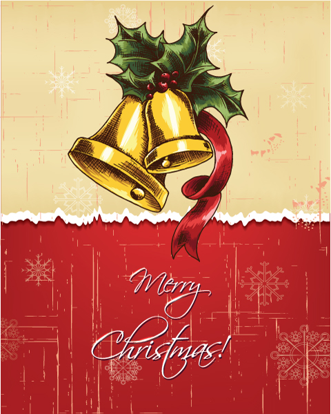 Christmas Vector Background: Christmas Illustration With Bells And Holly Berry 2015 02 02 014