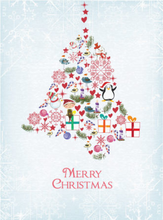 Christmas illustration with bell Vector Illustrations star