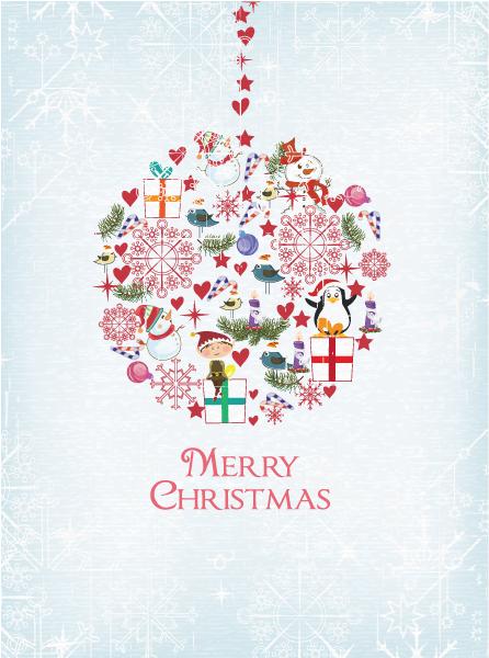 Christmas illustration with globe Vector Illustrations star