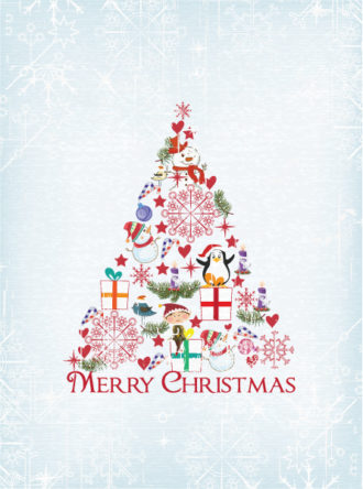 Christmas illustration with Christmas tree Vector Illustrations star