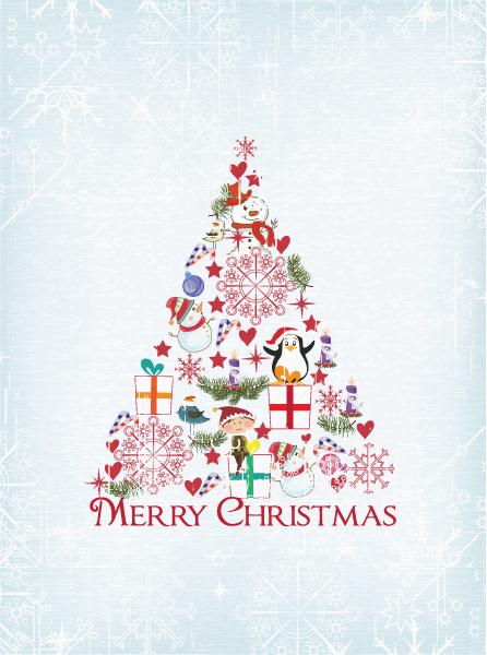 Awesome Christmas Vector: Christmas Illustration With Christmas Tree 3
