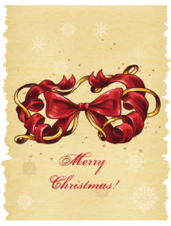 Christmas illustration with bow Vector Illustrations old