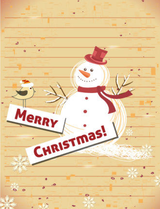 Christmas illustration with snow man Vector Illustrations old