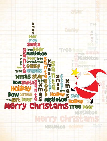 Best Retro Vector Background: Christmas Illustration With Santa 3