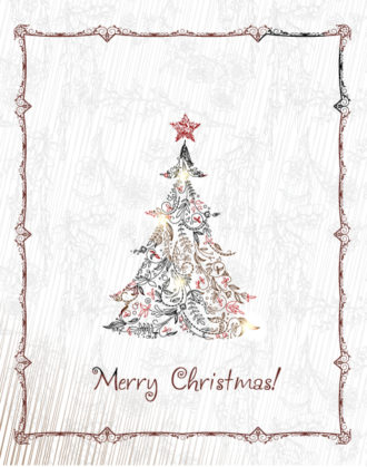 Christmas illustration with Christmas tree Vector Illustrations tree