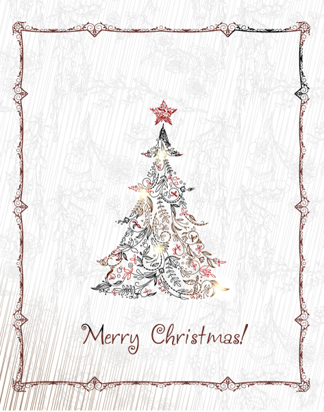 Illustration Vector: Christmas Illustration With Christmas Tree 3
