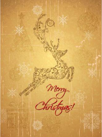 Christmas illustration with deer Vector Illustrations ball