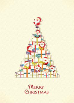 Christmas illustration with gift Vector Illustrations tree