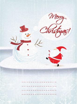 Christmas illustration with snow man and santa Vector Illustrations tree