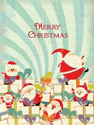 Christmas illustration with gift and santa Vector Illustrations tree