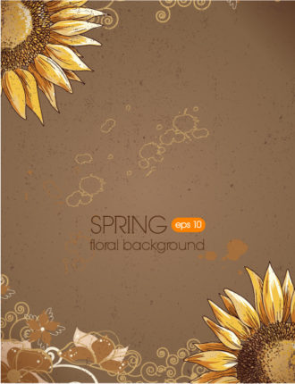 floral background vector illustration with sun flower Vector Illustrations old