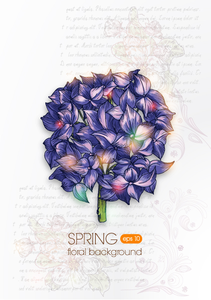 floral background vector illustration with hydrangea Vector Illustrations floral