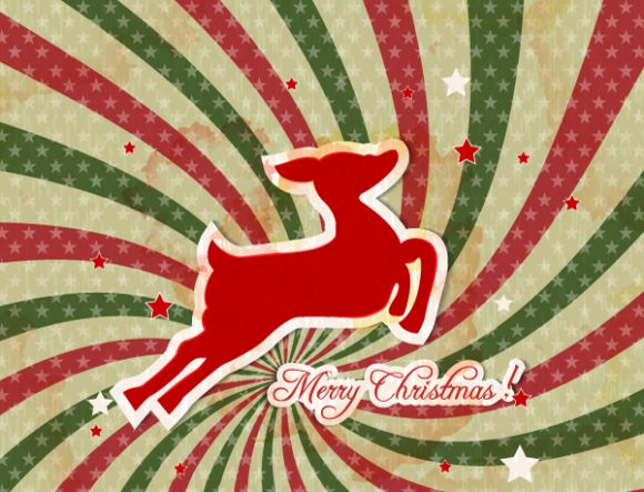 Fir Vector Graphic: Christmas Illustration With Deer 2015 02 02 130
