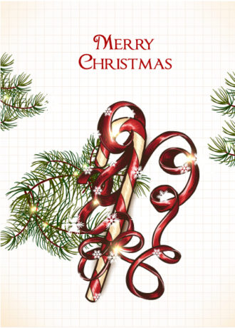 Christmas illustration with candy and bow Vector Illustrations vector