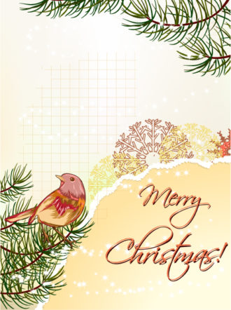 Christmas vector illustration with christmas tree Vector Illustrations old