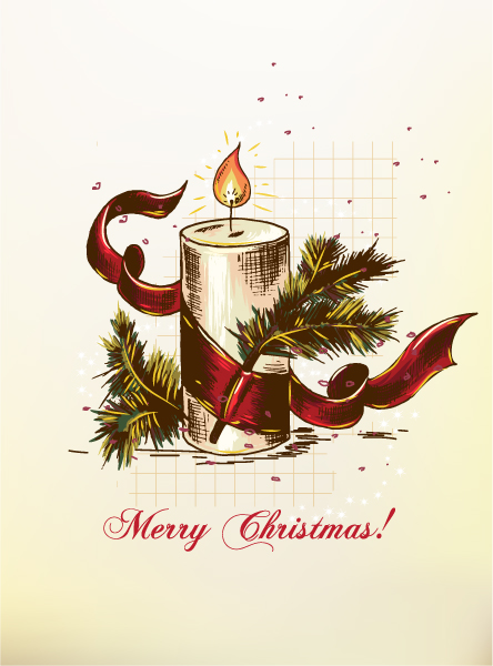 Christmas vector illustration with candle 2015 02 02 152