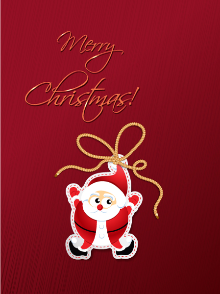 Christmas vector illustration with santa sticker 2015 02 02 154