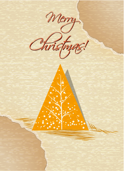 Lovely Christmas Vector Illustration: Christmas Vector Illustration Illustration With Christmas Tree And Torn Paper 3
