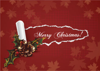 Christmas vector illustration with torn paper Vector Illustrations old