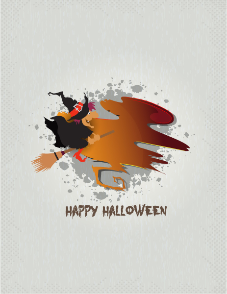 Gorgeous Witch Vector Art: Halloween Background With Witch Vector Art Illustration 5