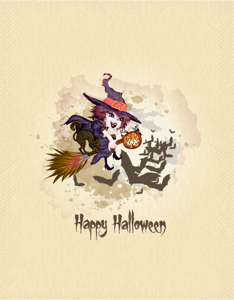 Buy Witch Vector Design: Halloween Background With Witch Vector Design Illustration 5