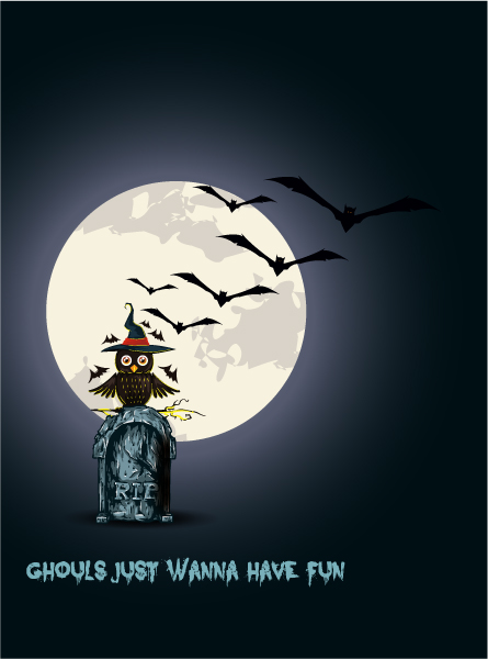 Brilliant Spooky Vector: Halloween Background With Owl Vector Illustration 2015 02 02 236