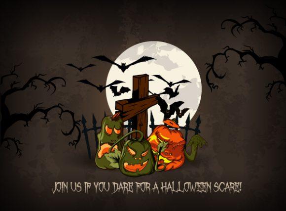 vector halloween background with pumpkins 5