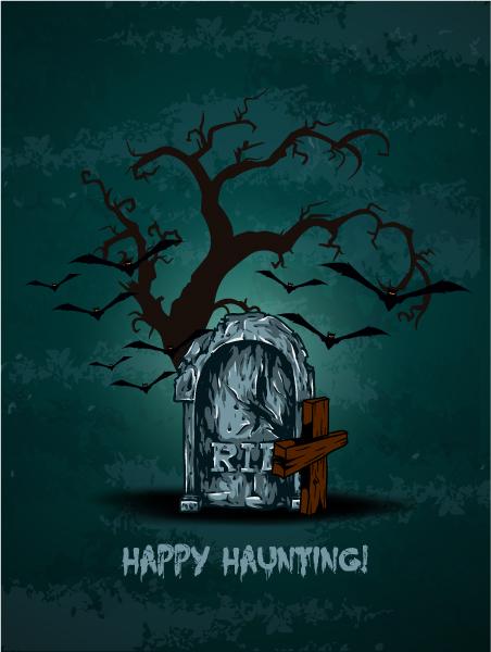 vector halloween background with graveyard 5