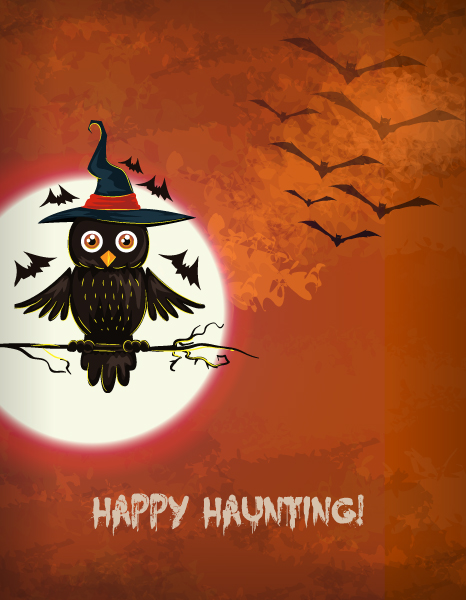 vector halloween background with owl 5