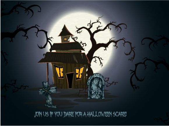 Insane House Vector Background: Vector Background Halloween Background With House 5