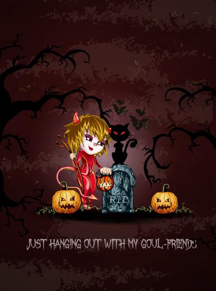 vector halloween background with girl in costume Vector Illustrations vector
