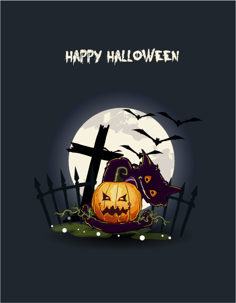 Autumn Vector Vector Halloween Background  Pumpkin 5