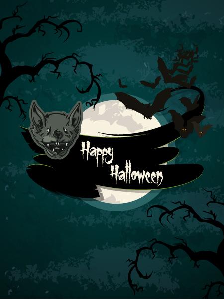 Moon Vector Background Vector Halloween Background  Bats 5