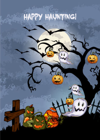 vector halloween background with pumpkins Vector Illustrations tree