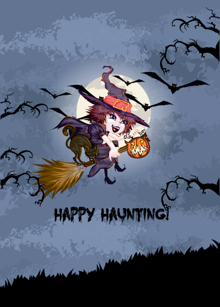 vector halloween background with witch 5