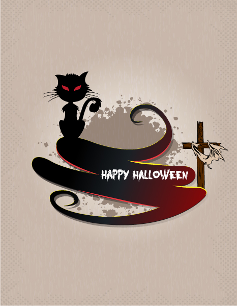 vector halloween background with cat Vector Illustrations vector
