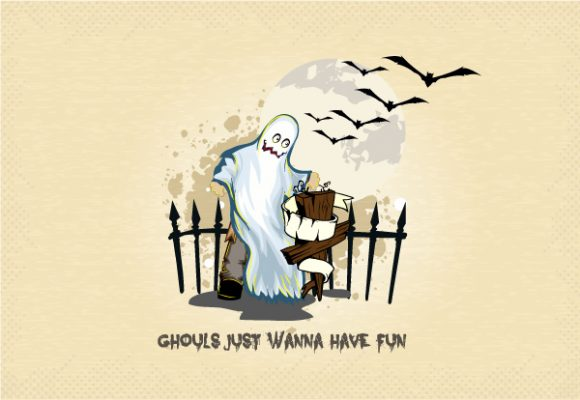 vector halloween background with gost Vector Illustrations vector