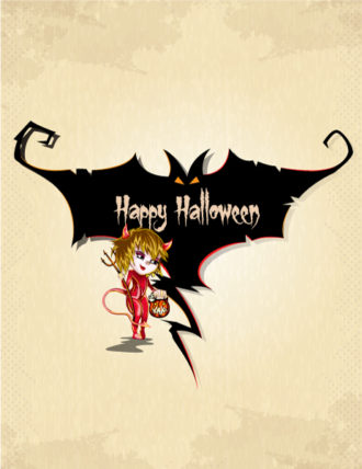 vector halloween background with girl in costume Vector Illustrations vector