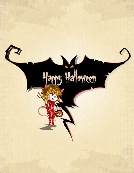 Lovely In Vector Artwork: Vector Artwork Halloween Background With Girl In Costume 2015 02 02 303