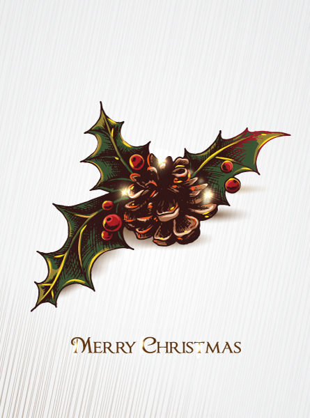 Christmas vector illustration with holly berry and pine cone Vector Illustrations old