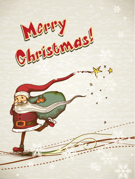 Exciting Santa Vector Background: Christmas Illustration With Santa 3