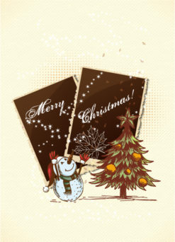 Christmas vector illustration with photo frame Vector Illustrations star
