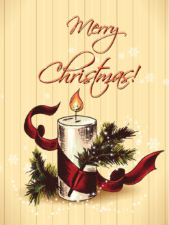 Christmas vector illustration with fir and candle Vector Illustrations old