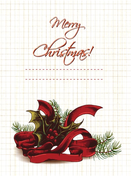 Christmas vector illustration with holly berry Vector Illustrations old