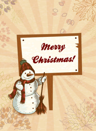 Christmas vector illustration with snow man Vector Illustrations old
