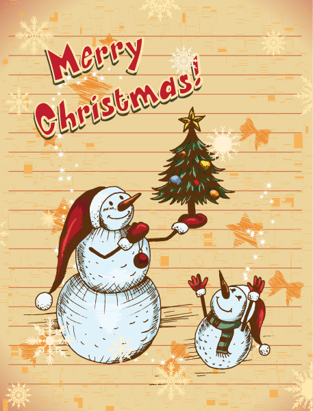 Awesome Christmas Vector Image: Christmas Vector Image Illustration With Christmas Tree And Snow Man 2015 02 02 346