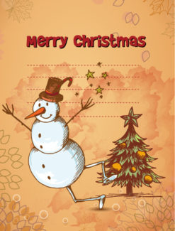 Christmas vector illustration with christmas tree and snow man Vector Illustrations tree