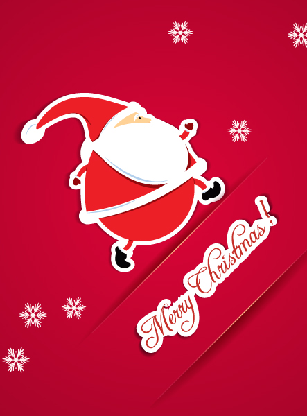 Christmas illustration with sticker santa Vector Illustrations vector