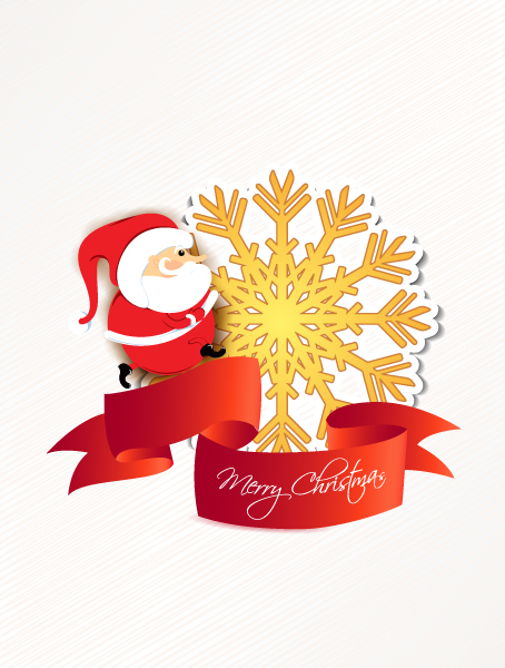Flake Vector Design: Christmas Vector Design Illustration With Santa And Sticker 5