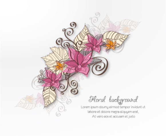 Stunning Design-2 Vector Graphic: Floral Vector Graphic Background Illustration With Doodle Flowers 5